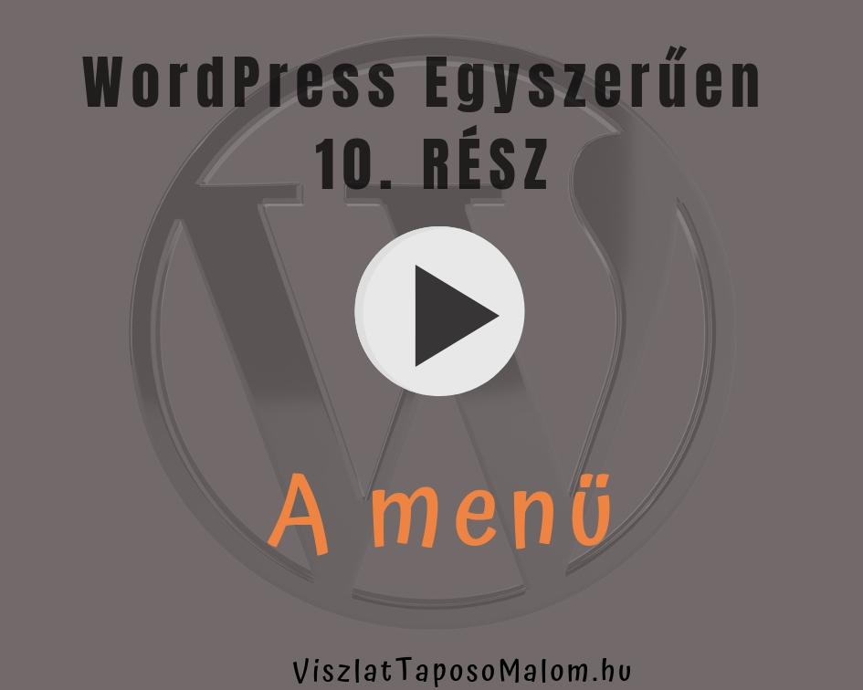 WordPress oldal létrehozása - a menü