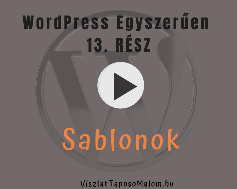Wordpress weboldal létrehozása - sablonok