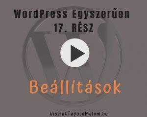 Wordpress weboldal - beállítások
