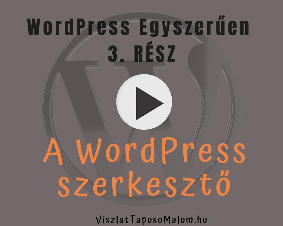 Wordpress weboldal készítés - Editor
