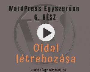 WordPress blogoldal készítés - oldal létrehozása