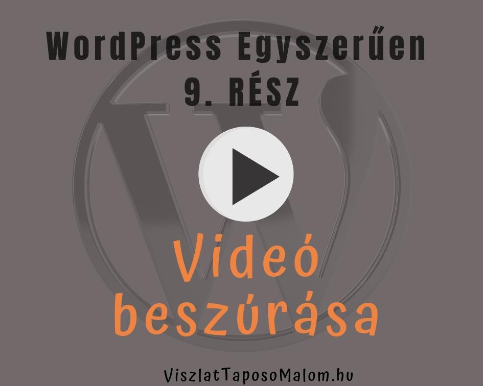 WordPress weboldal létrehozása - videó beszúrása
