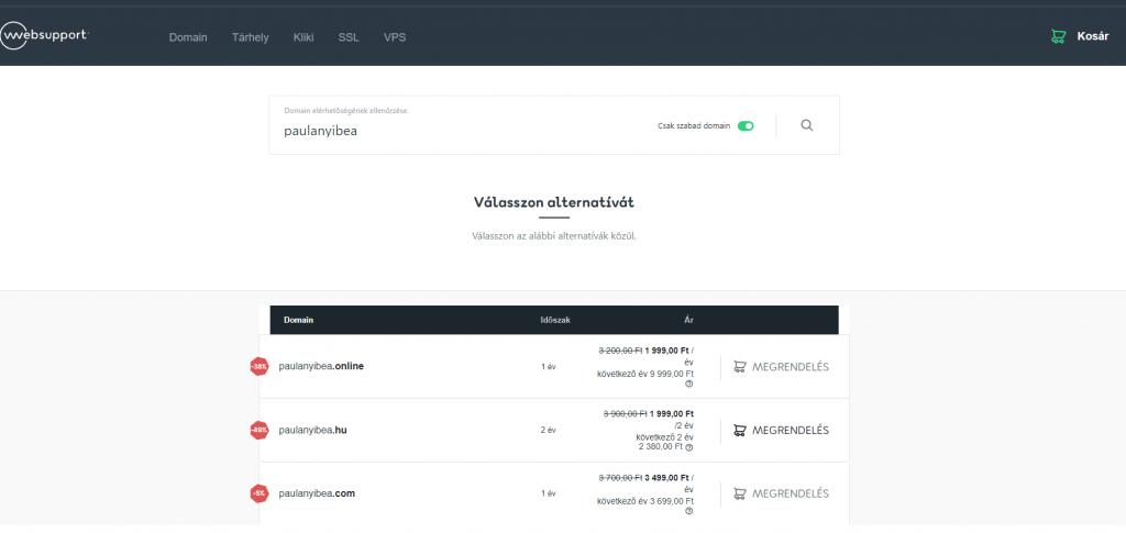 Webonic domain regisztráció lépései